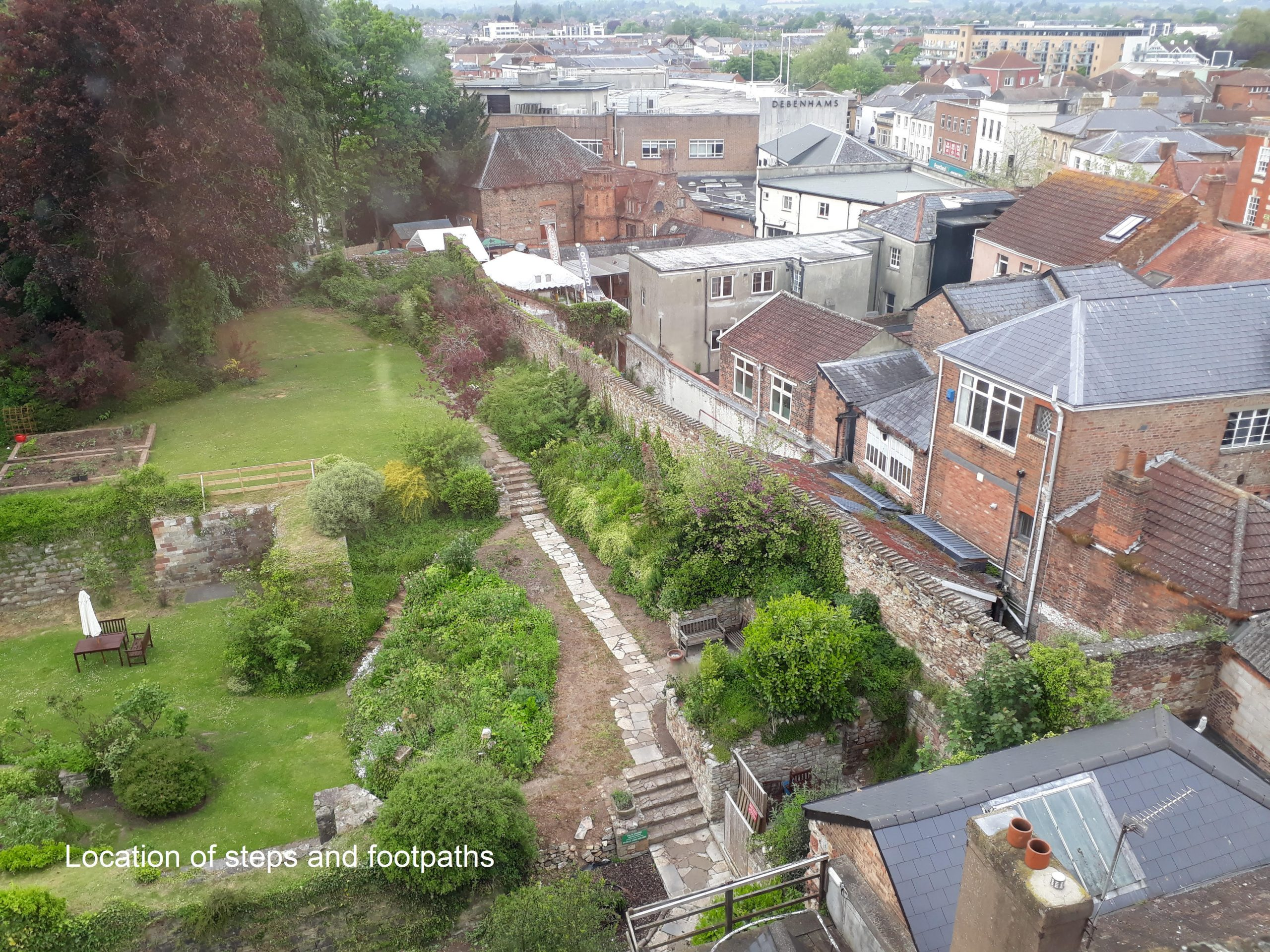 Aerial view of castle gardens Taunton