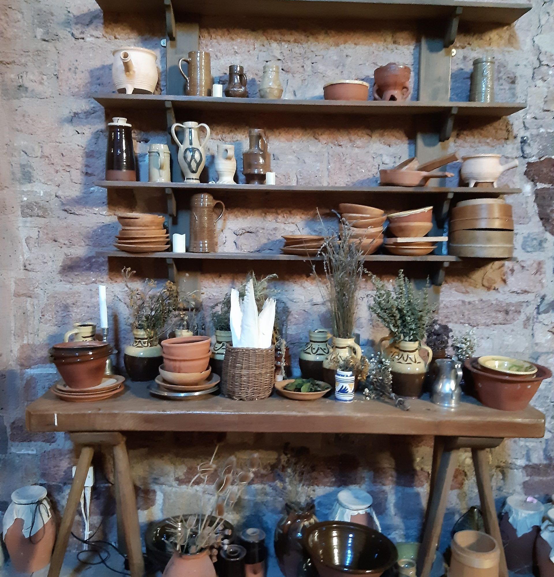 shelves with utensils